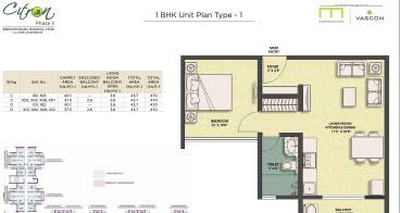 Citron 1 BHK Unit Plan Type-1