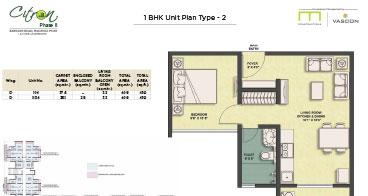 Citron 1 BHK Unit Plan Type-2