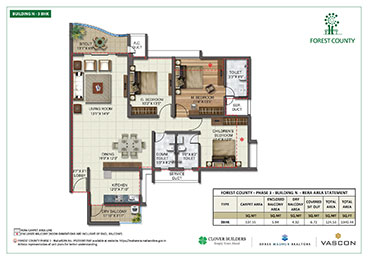 Forest County Building N 3 BHK Floor Plan