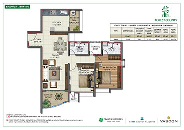 Forest County Building N 2 BHK Floor Plan