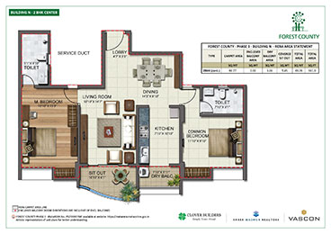 Forest County Center 2 BHK Floor Plan