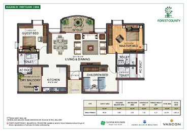 Forest County Building W 3 BHK Floor Plan