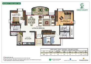 Forest County 3 BHK Floor Plan