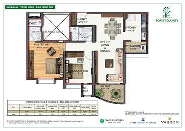 Forest County Building W 2 BHK Floor Plan